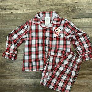 Disney Boys 2 Piece Pajama Set Red Holiday Plaid